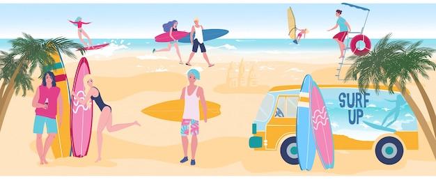 La gente praticante il surfing gode delle vacanze estive sulla spiaggia dell'oceano, i giovani ragazzi e ragazze attraenti, illustrazione