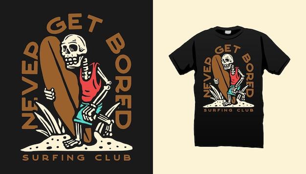 Disegno della maglietta scheletro surf