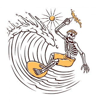 Cranio surf illustrazione