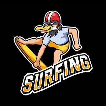 Logo della mascotte del surf e del gioco esport