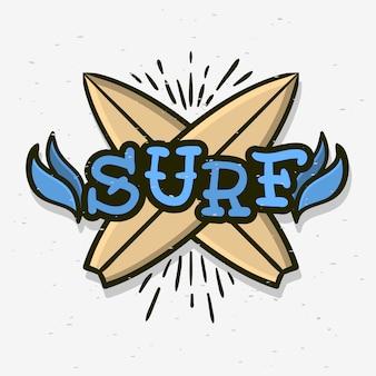 Surf surf a tema tradizionale disegnato a mano di vecchia scuola tatuaggio estetico influenzato art drawing vintage ispirato illustrazione per promozione t-shirt stampa o adesivo poster flyer design immagine.