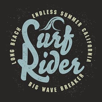 Progettazione grafica di t-shirt da surf. timbro di stampa grunge surf. i surfisti della california indossano l'emblema della tipografia. design creativo.
