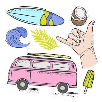 Vacanza surf estate tropicale crociera mare spiaggia viaggio relax hand drawn clip art illustrazione vettoriale per la stampa