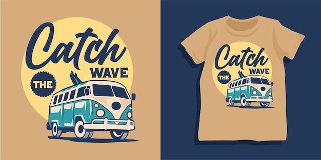 Disegno della maglietta dell'illustrazione del furgone di surf