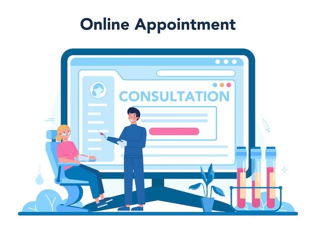 Servizio o piattaforma online del chirurgo. medico che esegue medico