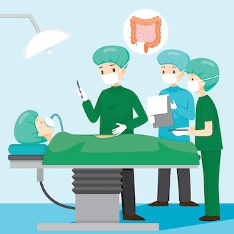 Il chirurgo opera sul paziente con appendicite