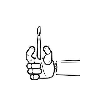 Braccio robotico di chirurgia con icona di doodle di contorni disegnati a mano bisturi. moderno concetto di robot per tecnologia medica