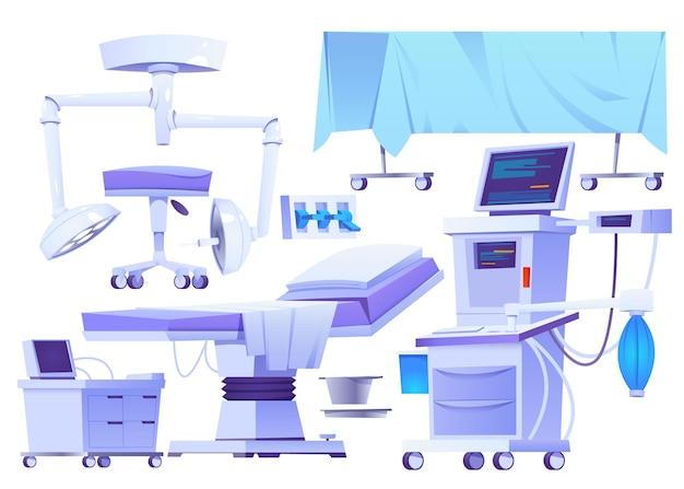 Set illustrato di elementi chirurgici