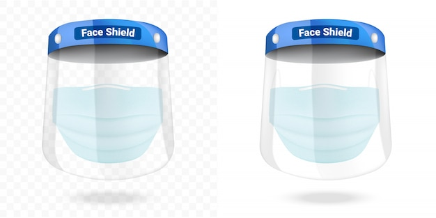Maschera chirurgica per visiera e protezione antivirus isolata. sicurezza respiratoria, assistenza sanitaria e concetto medico.