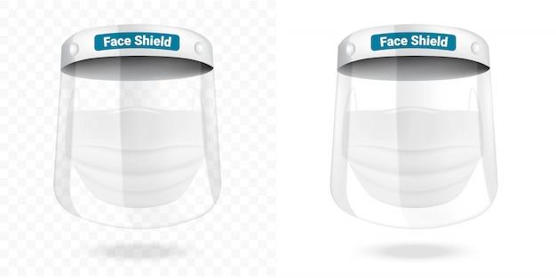 Maschera chirurgica per visiera e protezione antivirus isolata. respirazione di sicurezza,