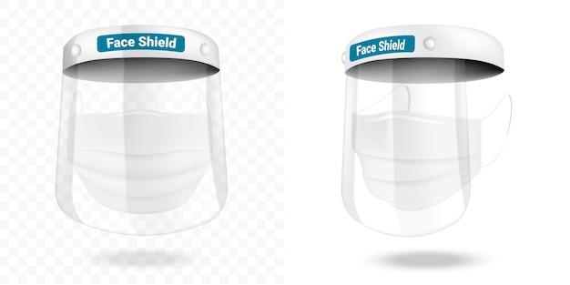 Maschera di protezione facciale chirurgica e protezione da virus sicurezza respiratoria, assistenza sanitaria e progettazione medica. Vettore Premium