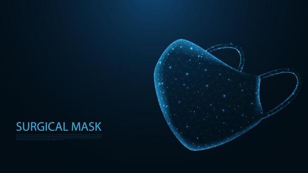 Collegamento linea maschera chirurgica. design wireframe basso poli. protezione dal coronavirus. fondo geometrico astratto. illustrazione vettoriale.