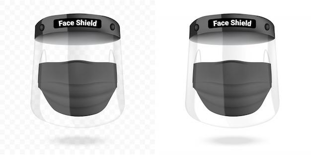 Maschera chirurgica e protezione facciale trasparente protezione antivirus isolata