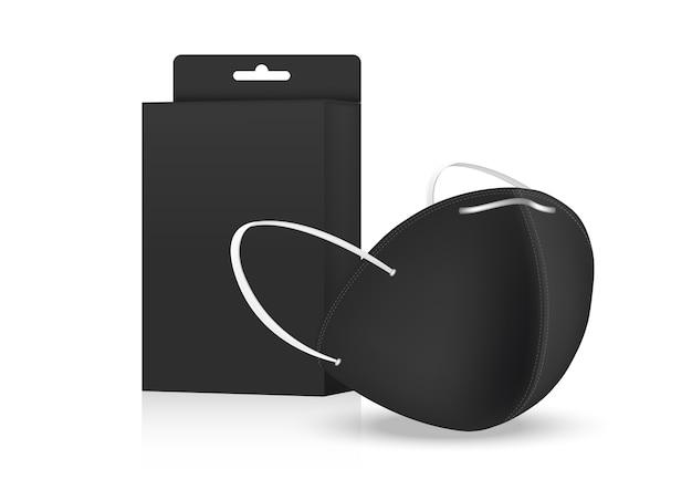Maschera chirurgica e protezione da virus con confezione scatola isolato su sfondo. respirazione di sicurezza, assistenza sanitaria e progettazione medica.