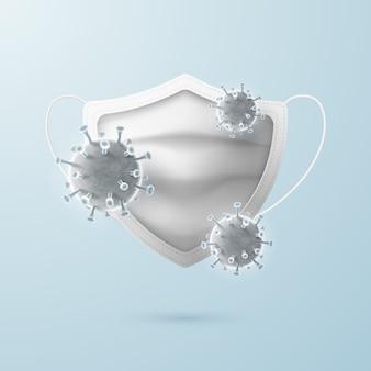 Una mascherina medica chirurgica a forma di scudo protegge da virus e batteri.