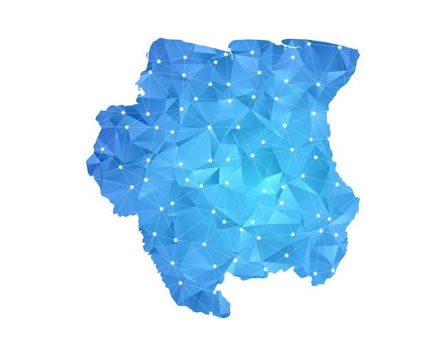 Suriname linea mappa punti geometrici astratti poligonali.