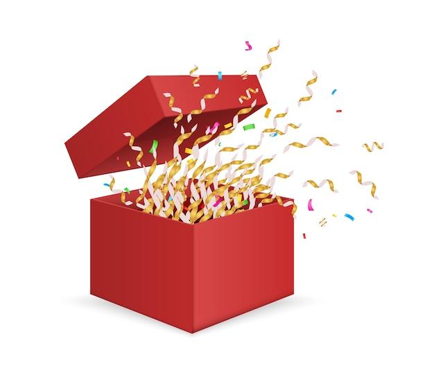 Scatola sorpresa. apertura confezione regalo con coriandoli isolati su sfondo bianco. regalo di illustrazione per il compleanno, pacchetto sorpresa di natale, scatola con nastri