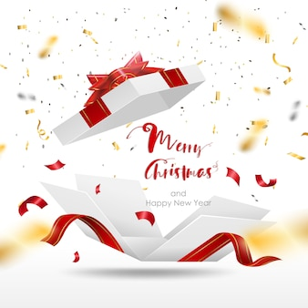 Confezione regalo bianca a sorpresa con nastro rosso. contenitore di regalo aperto isolato. buon natale e felice anno nuovo.