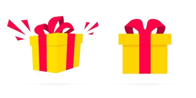 Scatole regalo gialle a sorpresa in design piatto. confezione regalo aperta con coriandoli. scatole presenti. sorpresa nella scatola. modello di progettazione per sorpresa, evento di festa di compleanno, regali, compleanno, natale