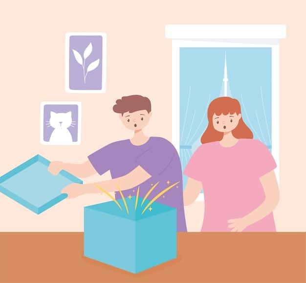 Ragazzo e ragazza sorpresi che aprono confezione regalo nell'illustrazione vettoriale camera