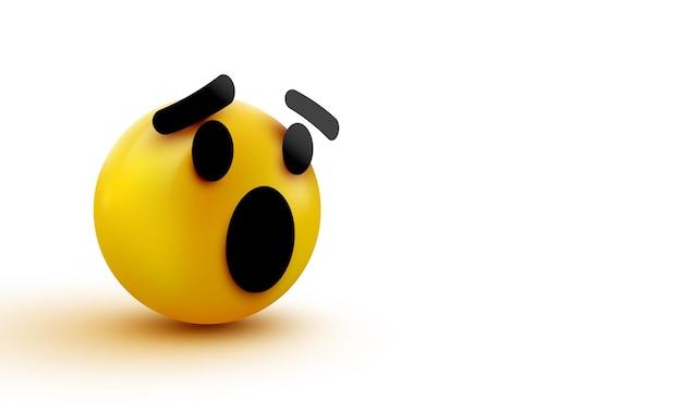 Emoji sorpreso isolato su sfondo bianco, emoticon scioccato