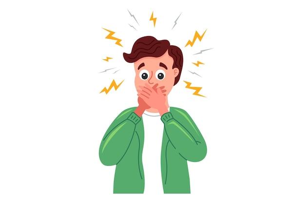 L'uomo sorpreso si copre la bocca con le mani per la paura. illustrazione di carattere piatto isolato su sfondo bianco.