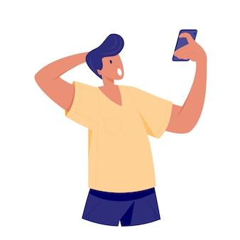 Uomo sorpreso che esamina smartphone