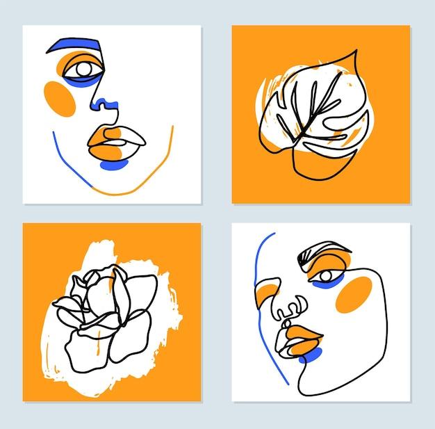 Pittura surreale del viso. poster artistici di una linea. sagoma di contorno femminile, rosa, foglia di monstera. disegno continuo. ritratti contemporanei della donna astratta. design grafico minimalista di moda.