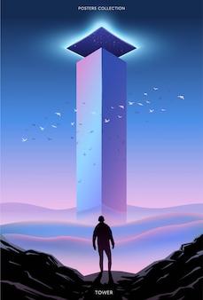 Poster surreale. motivazione e successo. torre.