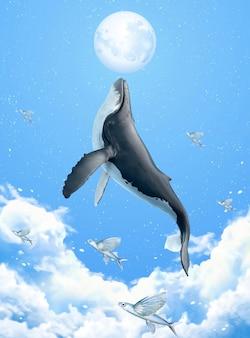 Scena surreale di megattera che si rompe sopra le nuvole e raggiunge la luna d'argento, illustrazione 3d