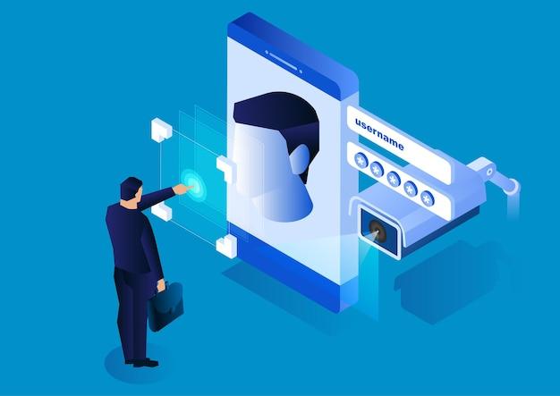 Le telecamere di sorveglianza monitorano i sistemi di riconoscimento facciale dello smartphone moderna tecnologia di sicurezza della rete