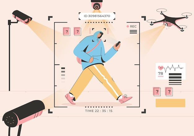 Riconoscimento facciale del concetto di tecnologia di sorveglianza dell'uomo che cammina strada