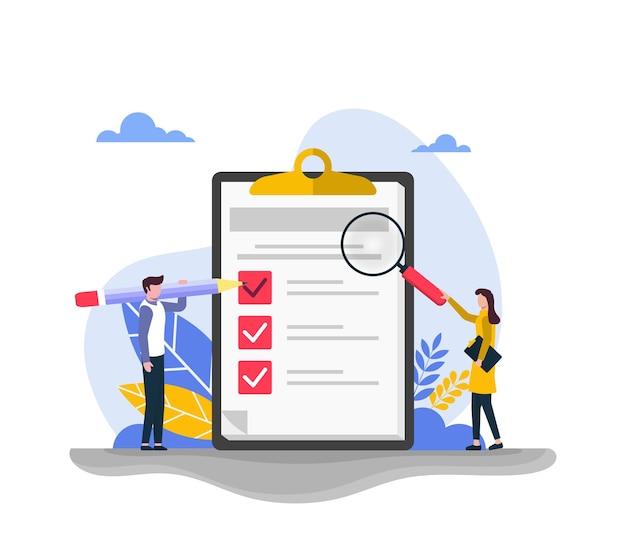 Concetto di indagine con test di qualità e rapporto di soddisfazione. feedback dai clienti o modulo di opinione.