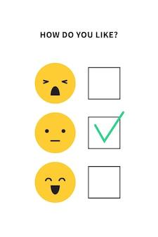 Sondaggio sondaggio o questionario con facce emoji per ricerca sulla soddisfazione del cliente o illustrazione vettoriale esperienza utente isolato su sfondo bianco
