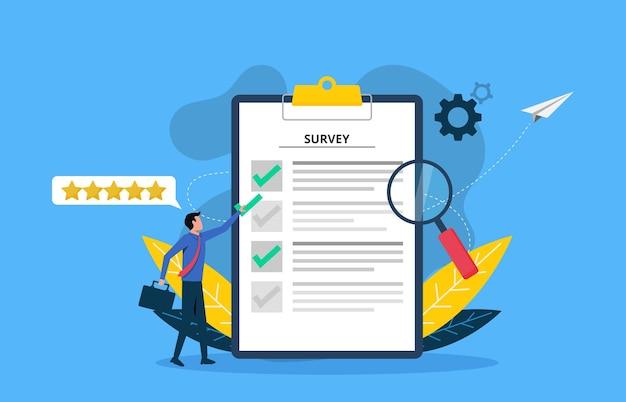 Illustrazione vettoriale di indagine. feedback dai clienti o concetto di modulo di opinione.