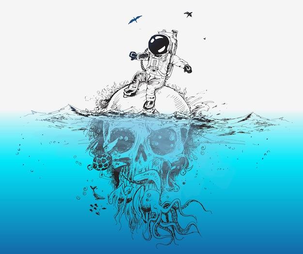 Astronauta di sopravvivenza che si siede sul vettore di progettazione del manifesto del cranio subacqueo illustration