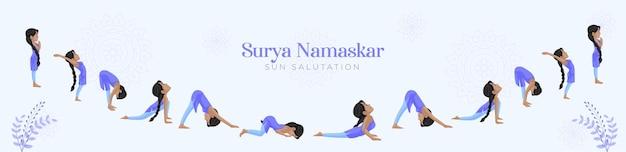 Surya namaskar modello di progettazione banner saluto al sole