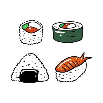 Set di sushi cibo asiatico. piatto colorato. isolato su sfondo bianco. design per poster, banner, stampa e web. Vettore Premium