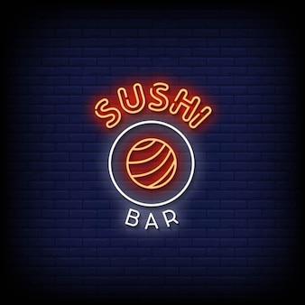 Sushi bar insegne al neon stile testo vettoriale