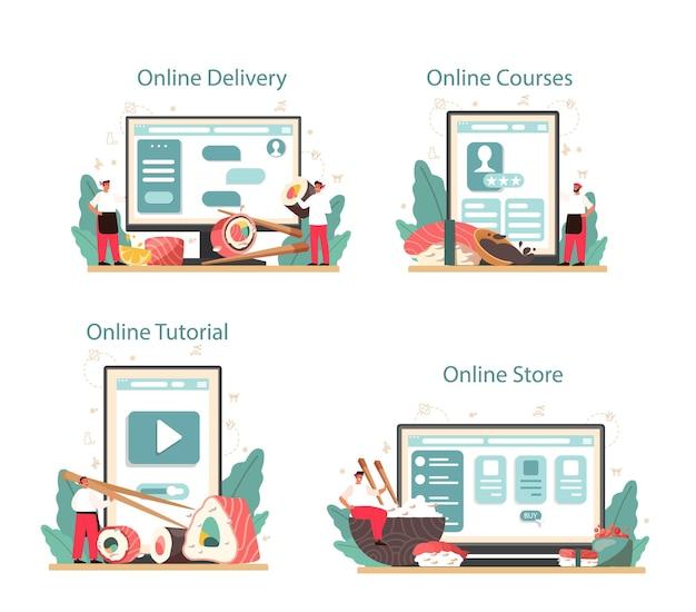 Servizio online di sushi chef o set di piattaforme