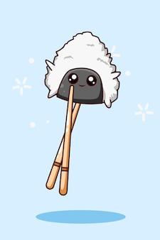 Illustrazione del fumetto dell'icona di sushi e bacchette su