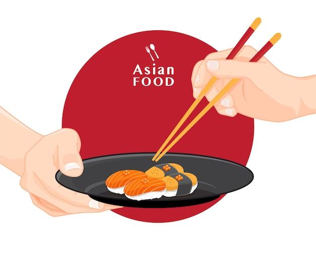 Sushi e bacchette, illustrazione di cibo giapponese per sushi, vector