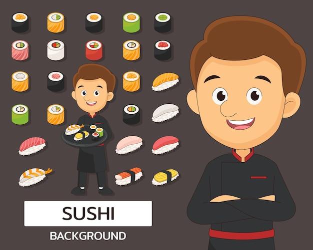 Fondo di concetto della raccolta dei sushi. icone piatte.