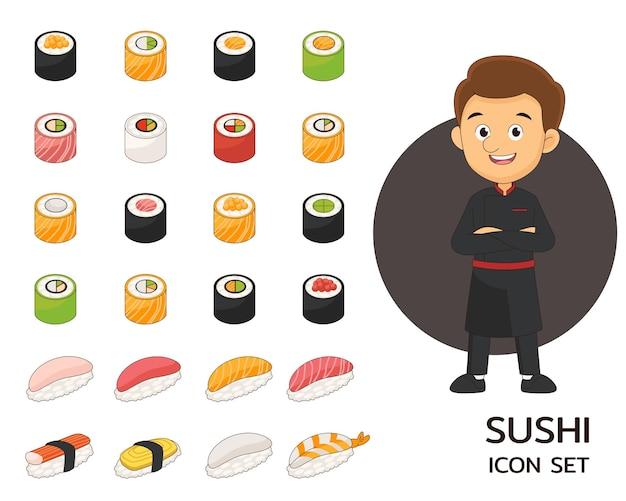 Icone piane di concetto di raccolta di sushi. Vettore Premium