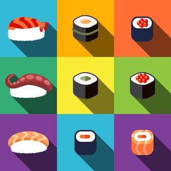 Le icone piatte di sushi impostano gli elementi, le icone modificabili, possono essere utilizzate nel logo, nell'interfaccia utente e nel web design
