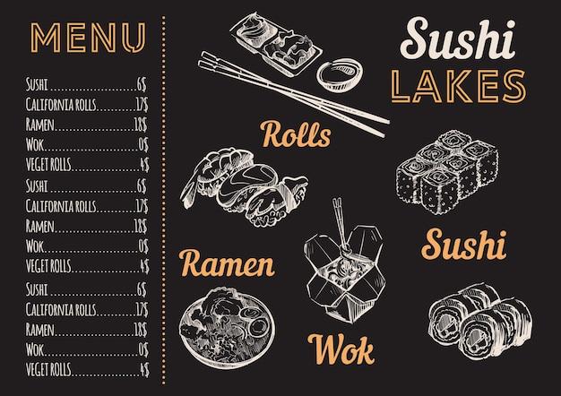 Schizzo del menu di sushi in gesso bianco