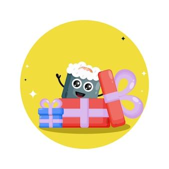 Logo del simpatico personaggio del regalo di sushi