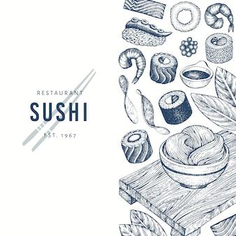Sushi disegnati a mano sullo sfondo