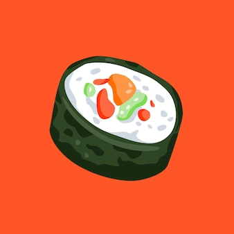 Illustrazione di sushi piatto minimalista