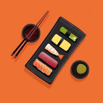 Piatto di cibo giapponese sushi